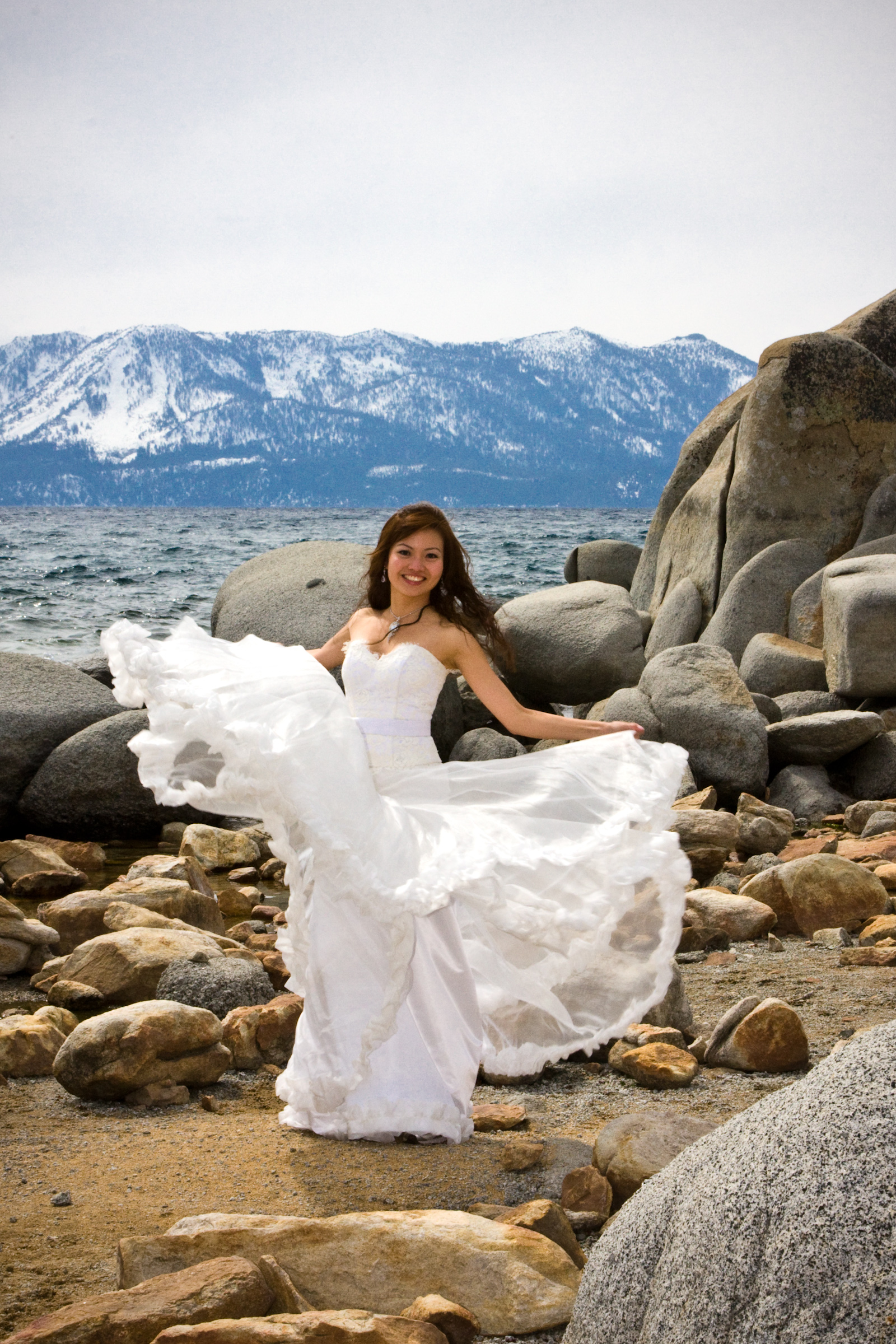 Celeste in her multiple layered organza wedding dress