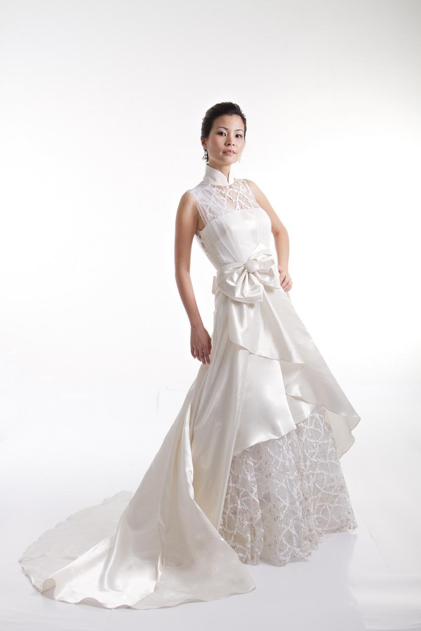 Chiffon Lace Wedding Dress Collection Ivory Shantung