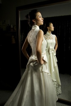 Wedding Dress Shantung Silk ball gown bow full