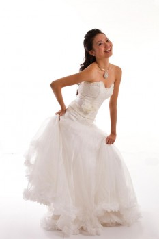 Wedding Dress lace corset organza ball gown front