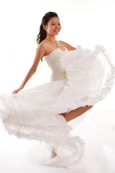 Wedding Dress lace corset organza ball gown full