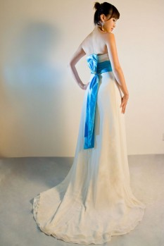 Wedding Dress chiffon A line bow back