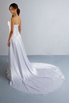 Wedding dress chiffon pleat high slit back