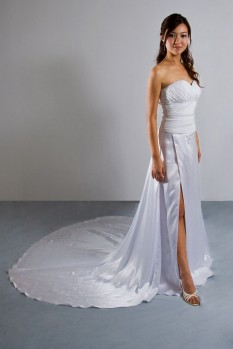 Wedding dress chiffon pleat high slit front