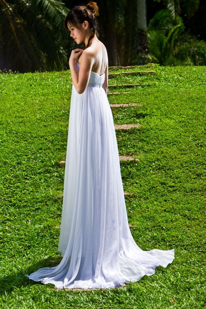 Wedding Dress empire chiffon pleats front