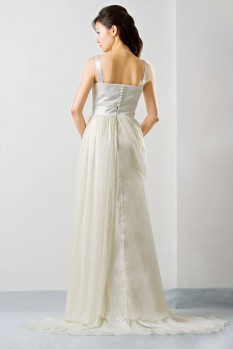 Wedding Dress chiffon pleated bustier draping back