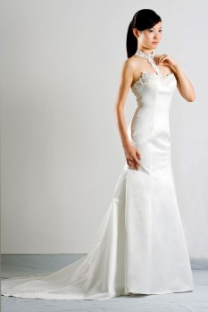 Wedding Dress halter neck lace front