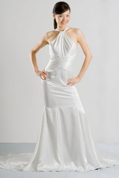 Wedding Dress key hole neckline low back front
