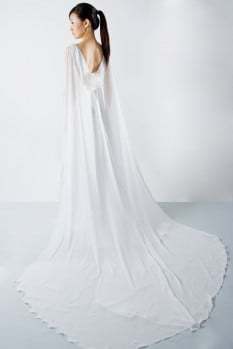Wedding dress deep V-neck chiffon back