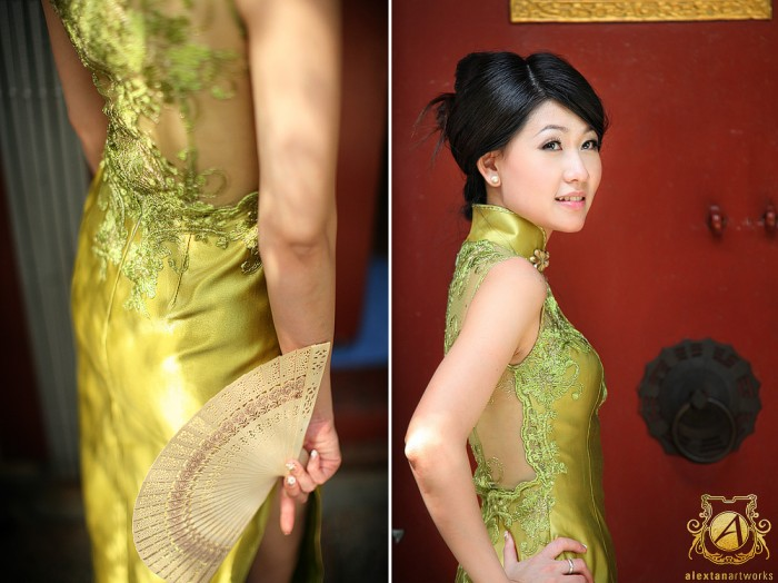 Wedding Dress lime green Cheongsam with sheer lace back