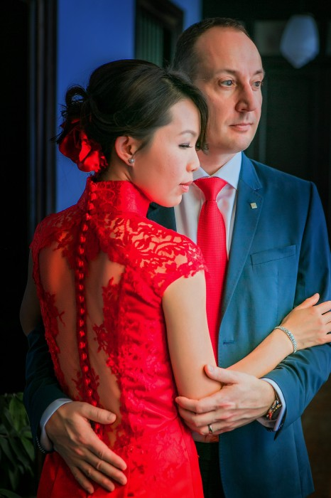 Wedding Dress full lace red fit-and-flare Cheongsam, Suet's close-up