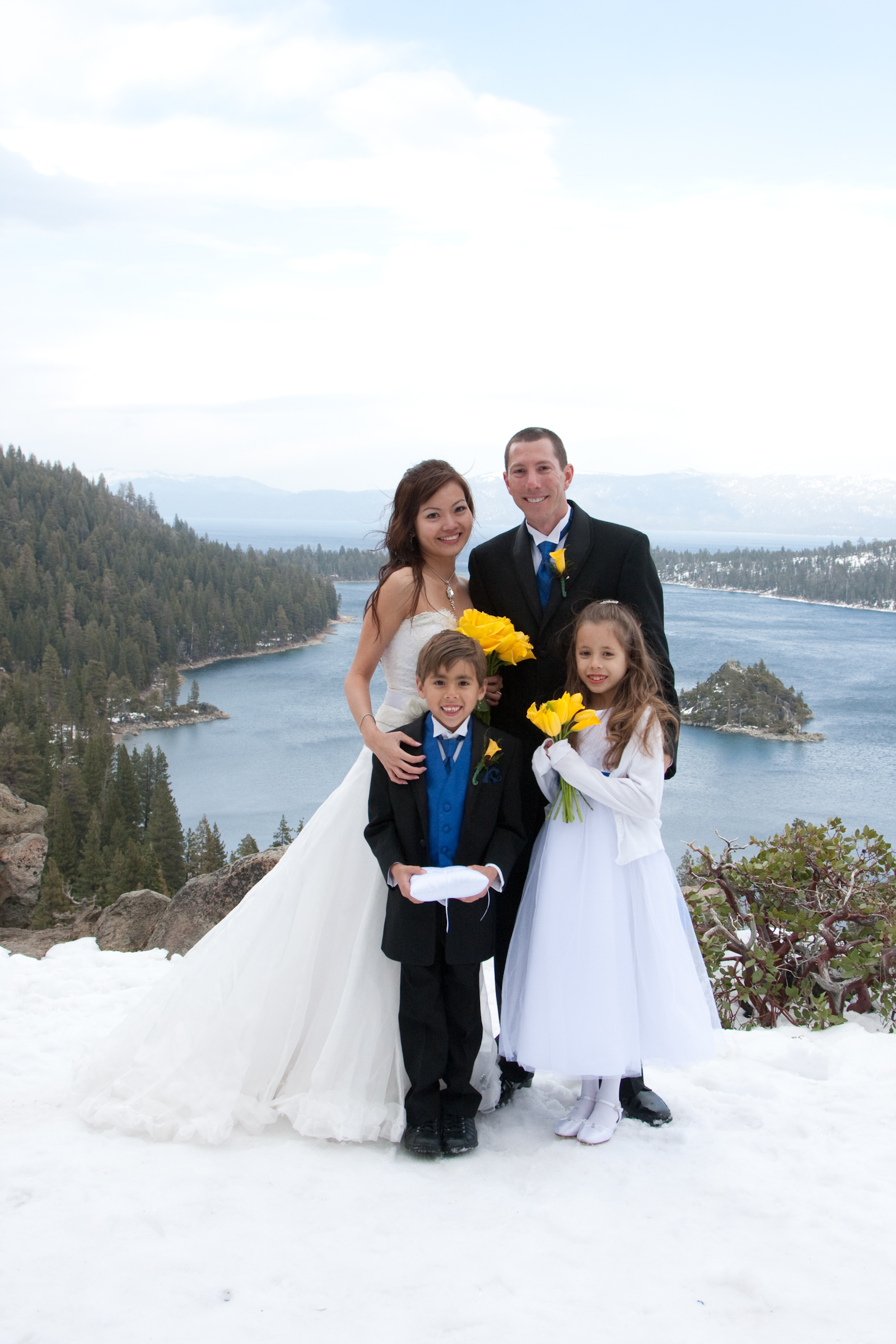 Celeste and Jeff with their ring bearers in Lake Tahoe wedding