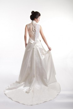 Wedding Dress Shantung Silk ball gown bow back