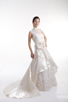 Wedding Dress Shantung Silk ball gown bow front