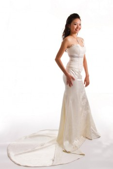 Wedding Dress lace corset silk satin skirt front