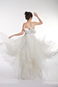 Wedding empire wast organza ruffles back