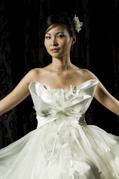 Wedding empire waist organza ruffles full