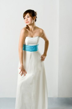 Wedding Dress chiffon A line bow front