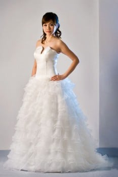 Wedding Dress silk organza ruffle ball gown front