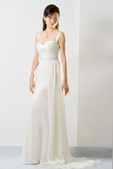 Wedding Dress chiffon pleated bustier draping front