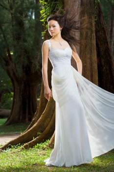 Wedding Dress chiffon pleated bustier draping full