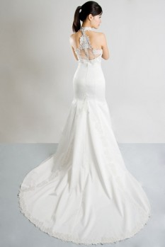 Wedding Dress halter neck lace back