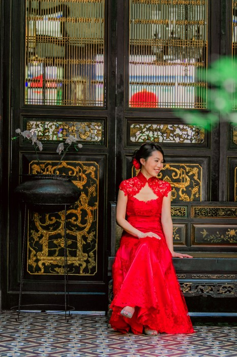Wedding Dress full lace red fit-and-flare Cheongsam, Suet's neckline