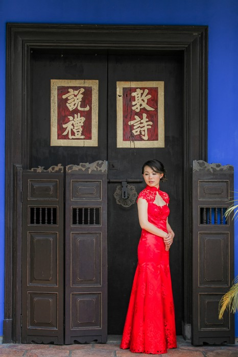 Wedding Dress full lace red fit-and-flare Cheongsam, Suet's front